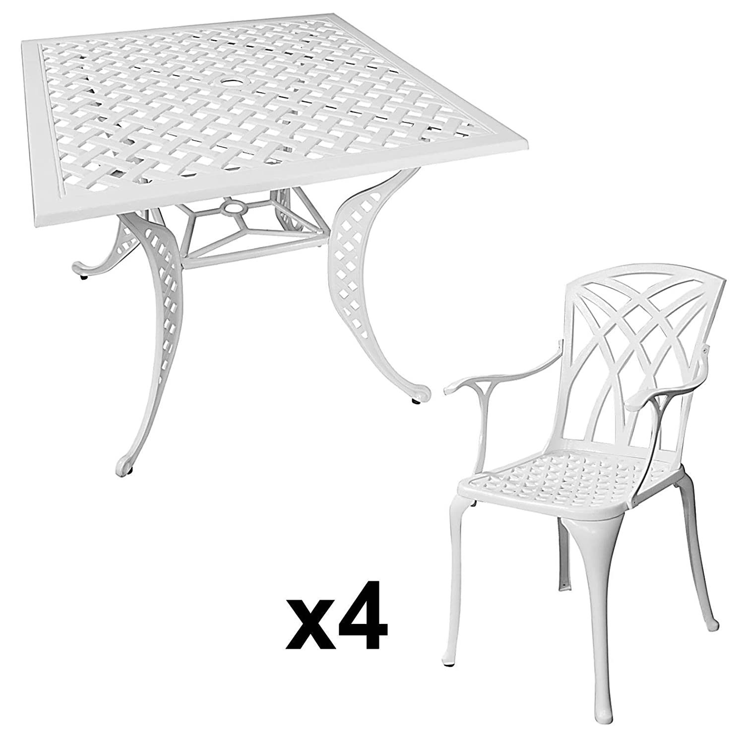 lazy susan lucy 91 cm quadratischer gartentisch mit 4 st hlen gartenm bel set aus metall. Black Bedroom Furniture Sets. Home Design Ideas