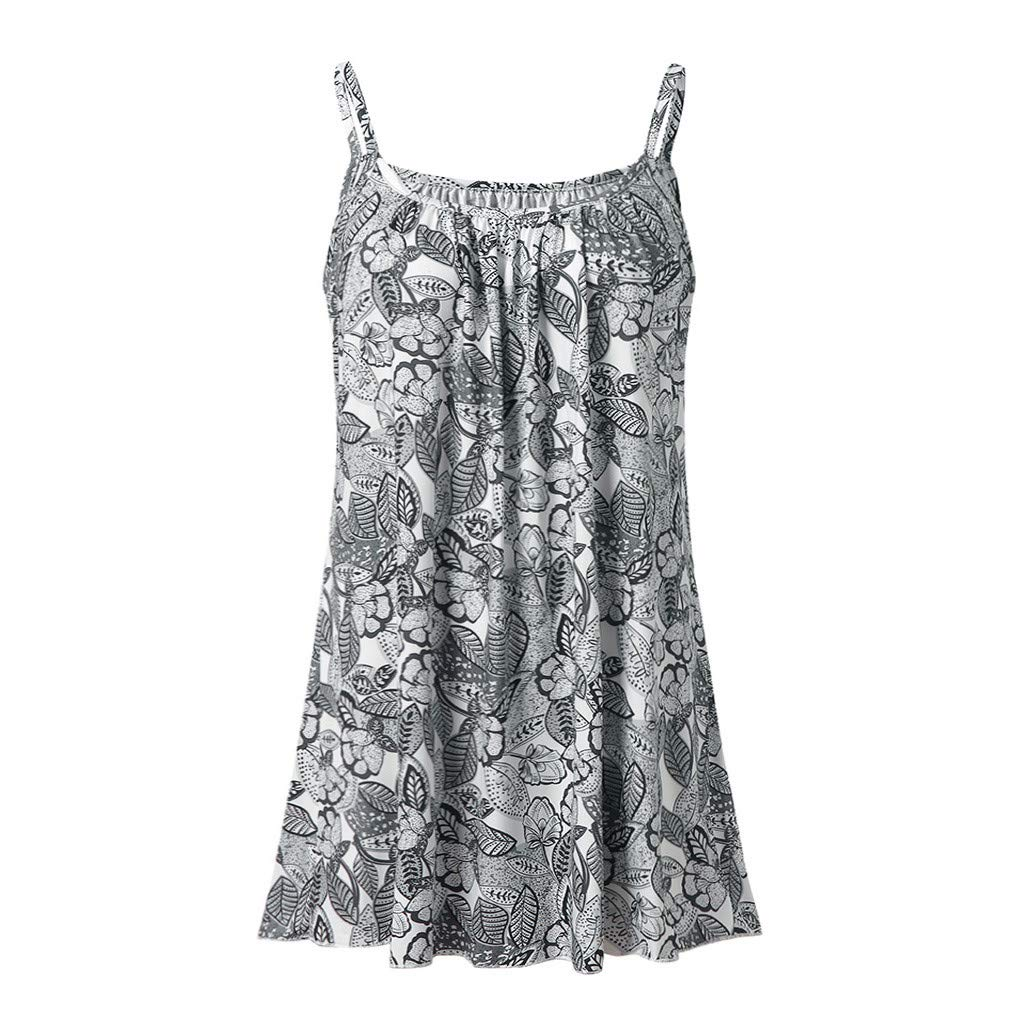Women's Cami Top Summer Casual Printed Sleeveless Vest Blouse Tank Tops Camisole Tunic Top Gray