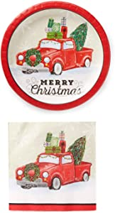 Rustic Red Truck Farmhouse Holiday Party Supplies with Christmas Tree for 40 Guests (Dessert)