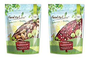 Raw Nuts Bundle - Raw Brazil Nuts, 8 Ounces and California Red Walnuts, 8 Ounces - Raw, No Shell, Kosher, Unsalted, Natural, Vegan