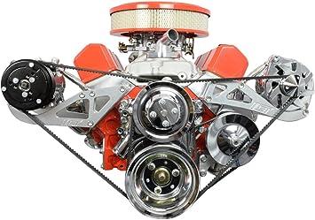 Small Block Chevy V-Belt Kit Short Water Pump SBC Low Driver/'s Side ALT 327 350
