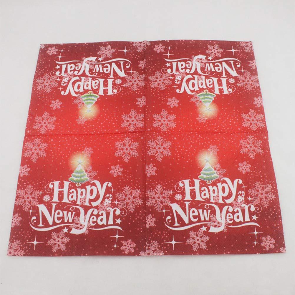 BESTOYARD Happy New Year Printed Napkin Wood Pulp Colorful Party Napkin Restaurant Decoration 100pcs by BESTOYARD (Image #3)