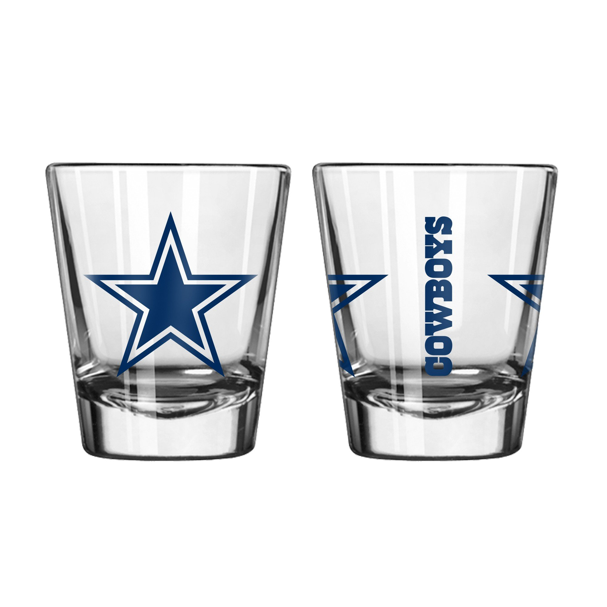 Official Fan Shop Authentic NFL Logo 2 oz Shot Glasses 2-Pack Bundle. Show Team Pride at home, your Bar or at the Tailgate. Gameday Shot Glasses for a goodnight (Dallas Cowboys)