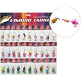 BLISSWILL 30Pcs Metal Fishing Lures Crankbait Spinner Baits Assorted Fish Hooks Tackle For Pike Trout Salmon Bass
