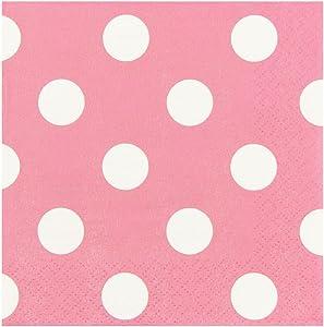 JAM PAPER Small Polka Dot Beverage Napkins - 5 x 5 - Light Pink with Polka Dots - 16/Pack