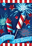 Toland - Home Of The Brave - Decorative Patriotic Summer Independence Firework USA-Produced Garden Flag