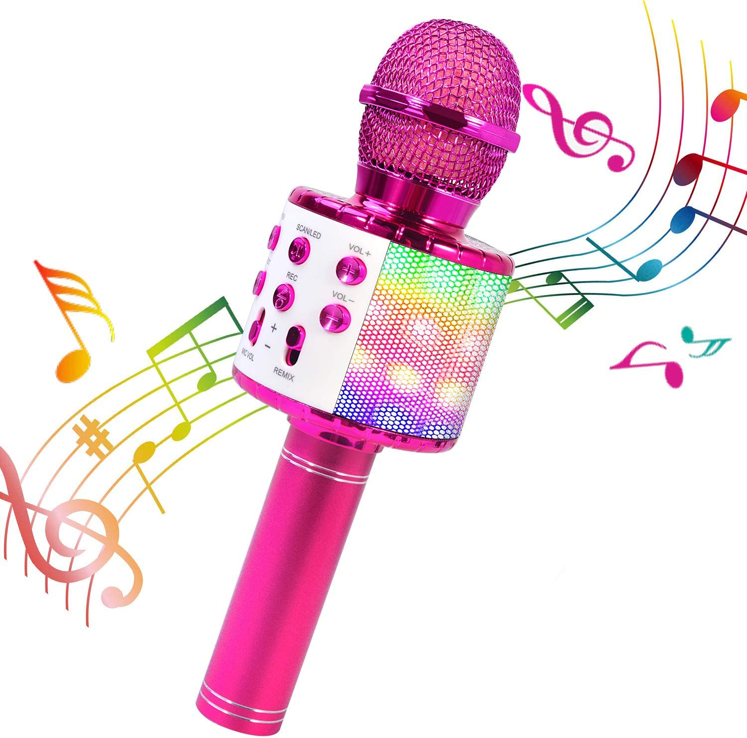 BlueFire Wireless 4 in 1 Bluetooth Karaoke Microphone with LED Lights, Portable Microphone for Kids, Best Gifts Toys for Kids, Girls, Boys and Adults (Purple)