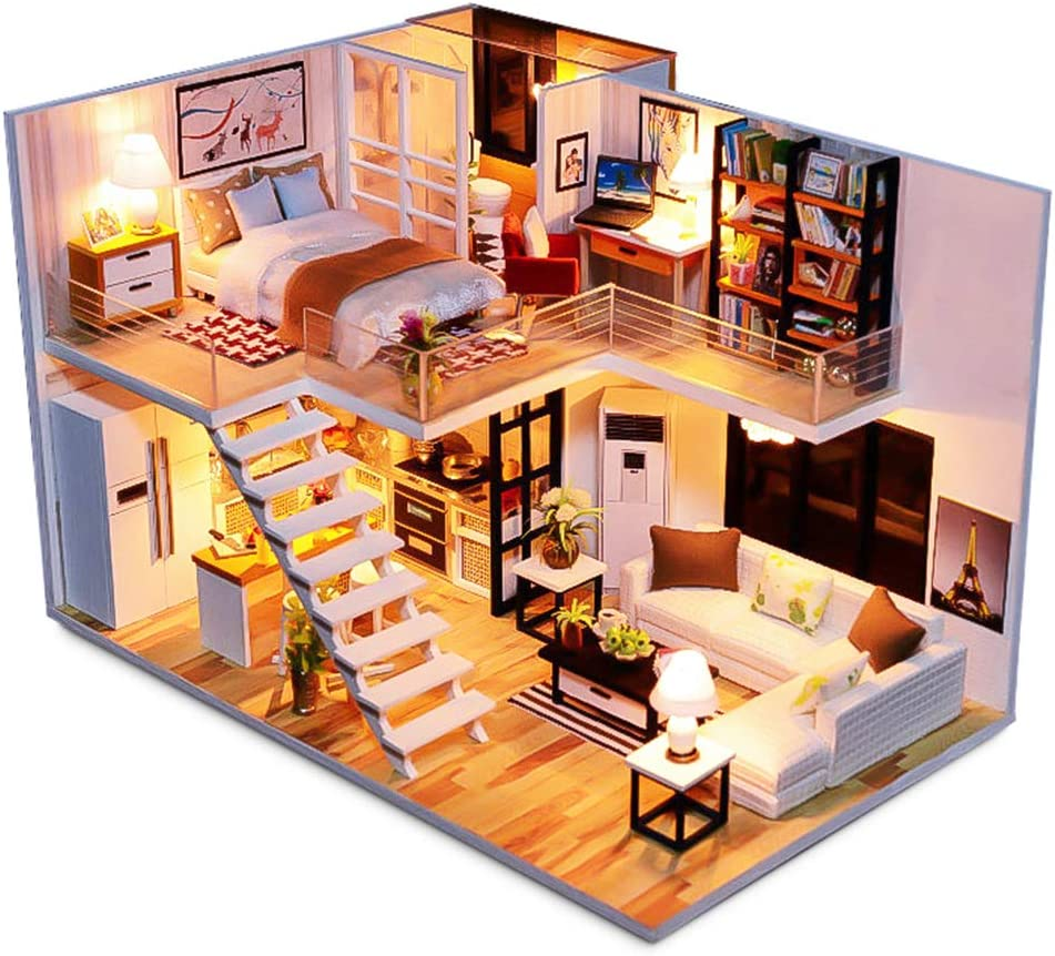 Spilay Dollhouse Miniature with Furniture, DIY Dollhouse Kit Handmade Mini Plus Duplex Apartment Home Model with LED & Music Box ,1:24 Scale 3D Puzzle Creative Doll House Toys for Children Gift