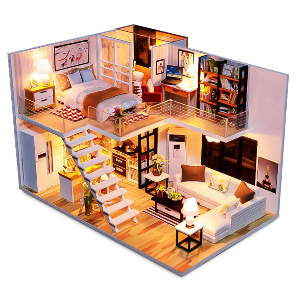 Spilay diy miniature dollhouse wooden furniture kithandmade mini plus duplex apartment home model with toolsmusic box 124 scale 3d puzzle creative doll