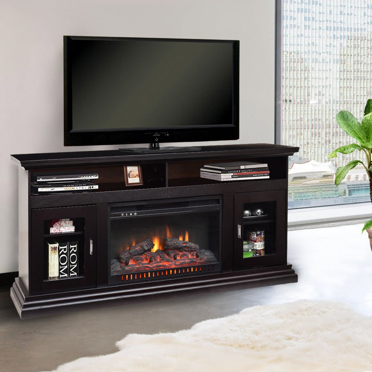 """Tangkula Fireplace TV Stand 62"""" Home Living Room Wooden Media TV Stand Fireplace with glass doors"""