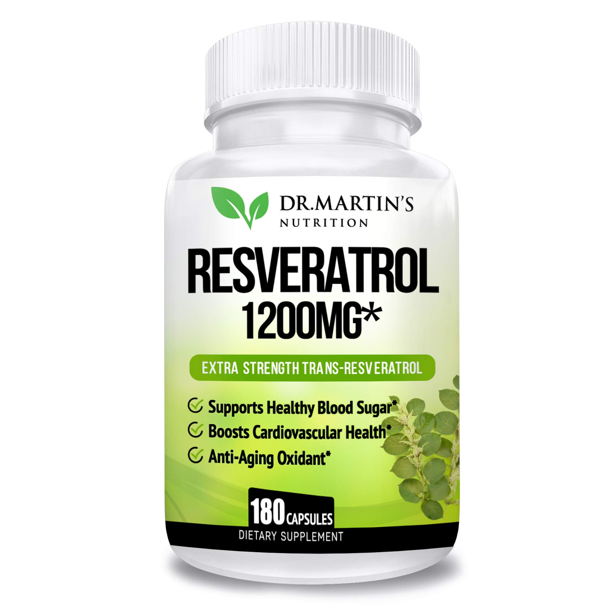 Extra Strength 100% Pure Resveratrol 1200mg - 180 Capsules - 3 Months Supply | Antioxidant Supplement | Natural Trans-Resveratrol Pills | for Anti-Aging, Heart Health, Immune System & Brain Function