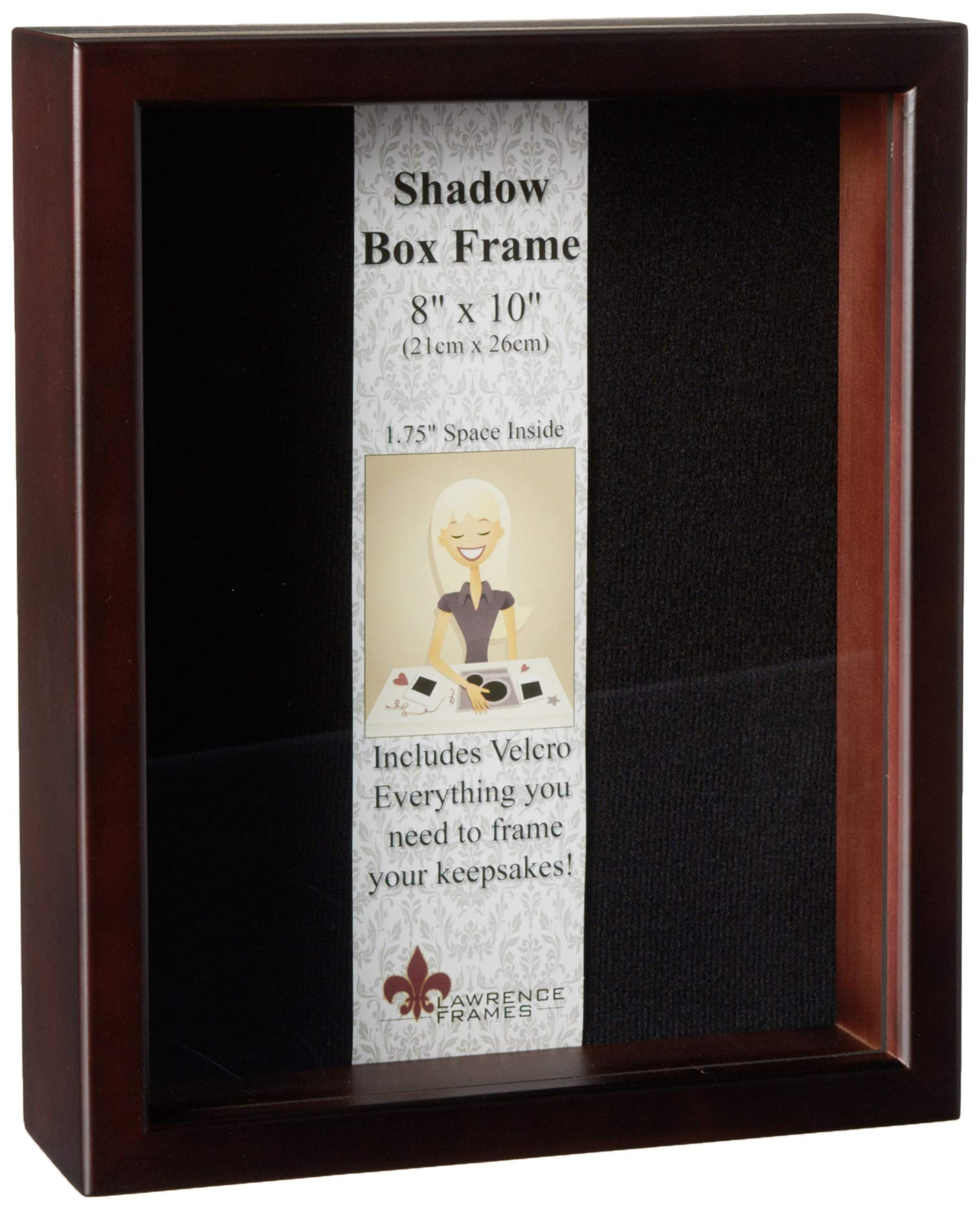 Lawrence Frames 790180 Espresso Wood Shadow Box Picture Frame, 8 by 10-Inch