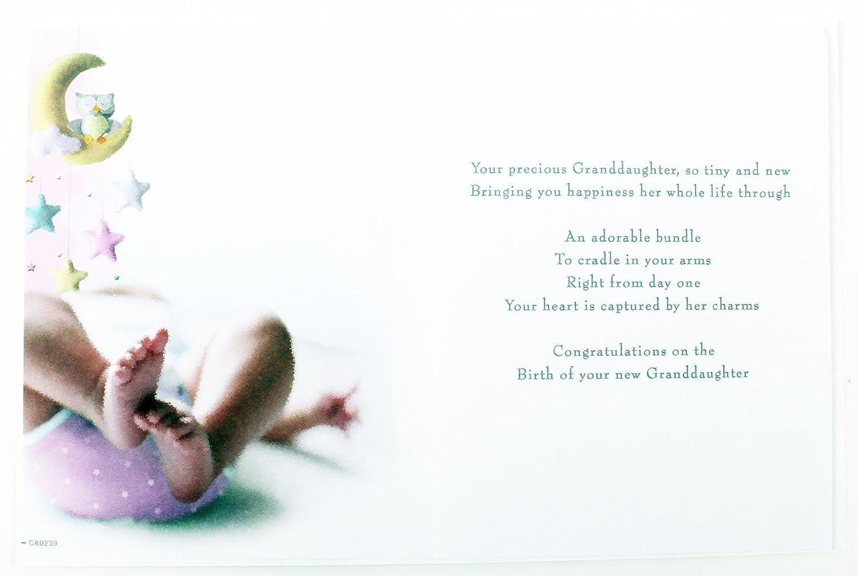 New Baby Girl Granddaughter Congratulations Greeting Card Newborn