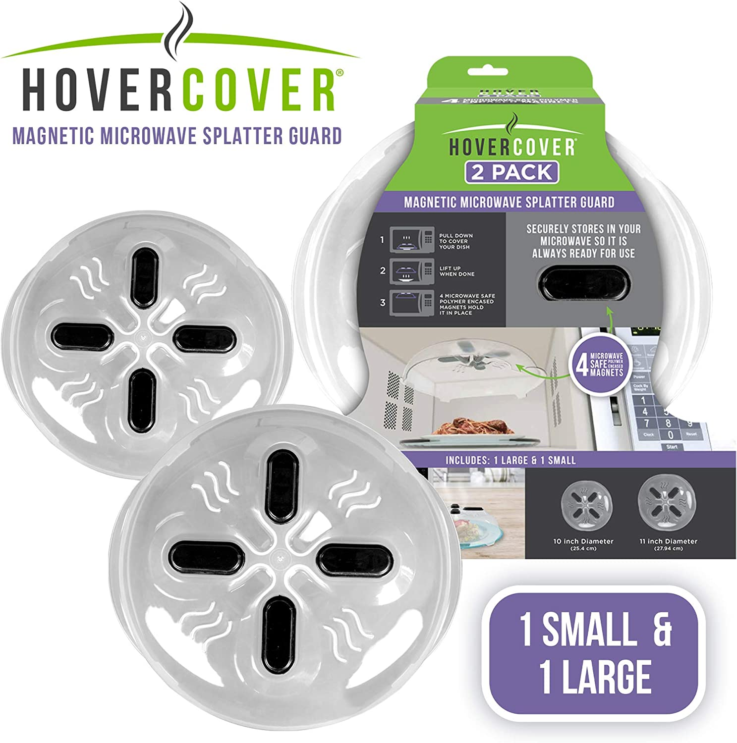 Set of 2 Hover Cover Magnetic Microwave Splatter Lid with Steam Vents Plate Covers For Large and Small Microwaves | Includes: 1 Large (11 inch) & 1 Small (10 inch) Covers | Dishwasher Safe BPA Free |