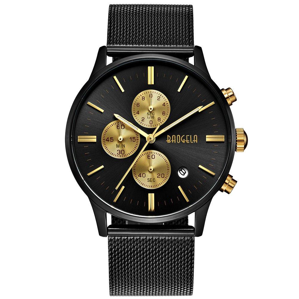 Hombre Relojes Negro Acero inoxidable Malla Pulsera Elegante–Reloj analógico de cuarzo–oro esfera–Cronógrafo resistente al agua fecha–baogela marcas