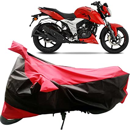 Adroitz Bike Body Cover for TVS Apache RTR 160 4V (Matte Black and Red)