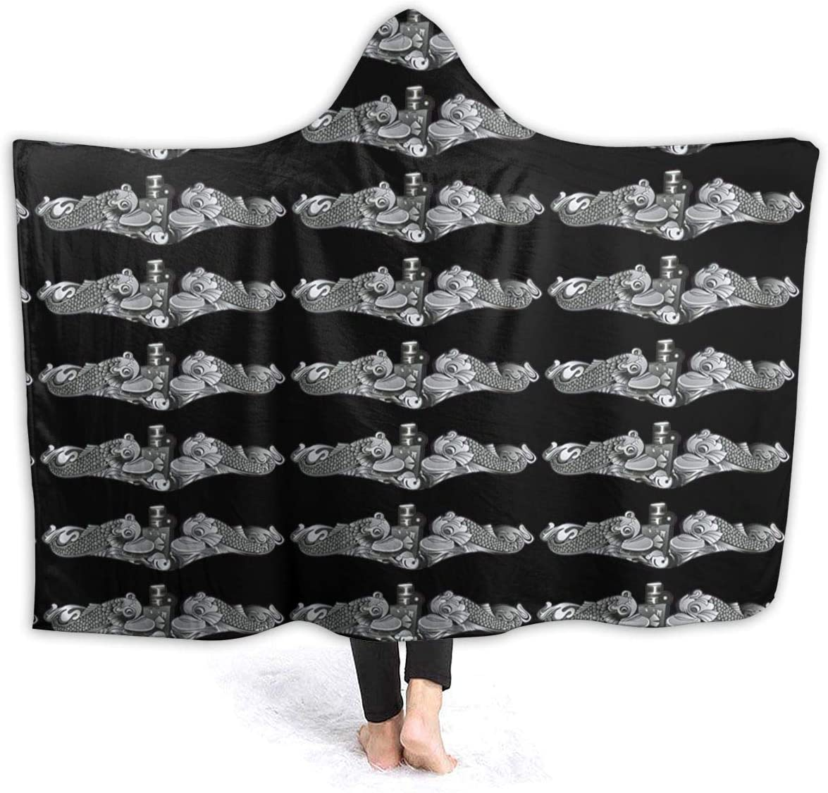 MAOYIHO Polo US Navy Submarine Insignia Unisex 3D Hooded Blanket Kids & Adults Sherpa Fleece Blanket