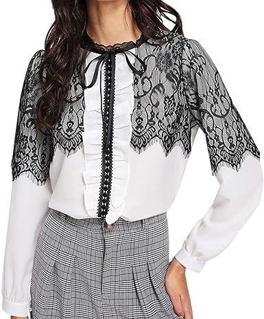 FAMILIZO Camisetas Mujer Verano Blusa Mujer Elegante Camisetas Mujer Fiesta Mujer Blusa Gasa Mujer Manga Larga Tops Mujer Fiesta Elegante Camiseta Mujer Elegante Camiseta Mujer Encaje: Amazon.es: Ropa y accesorios