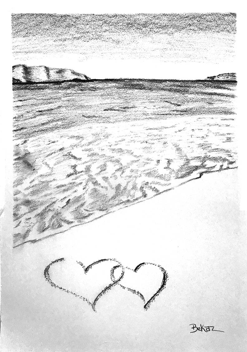 Beach Hearts in Sand Summer Love Sketch Ocean Romance Love Islands Wedding