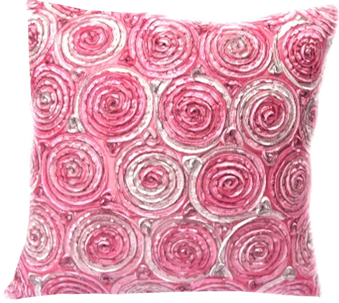 Hello Bangkok (Single) Two Tone 3d Bouquet of Roses Throw Cushion Cover/pillow Sham Handmade By Satin and Thai Silk for Decorative Sofa, Car and Living Room Size 16 X 16 Inches (Pink) by HelloBangkok