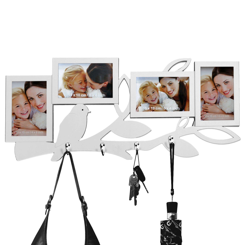Garderobe mit Bilderrahmen für 4 Fotos 61,5x26,5x2cm Hakenleiste ...