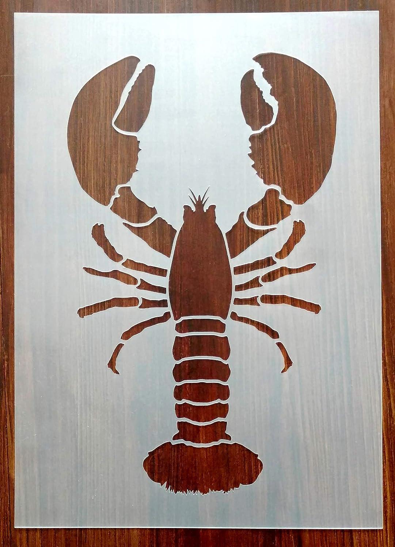 Lobster Stencil Mask Reusable PP Sheet for Arts & Crafts