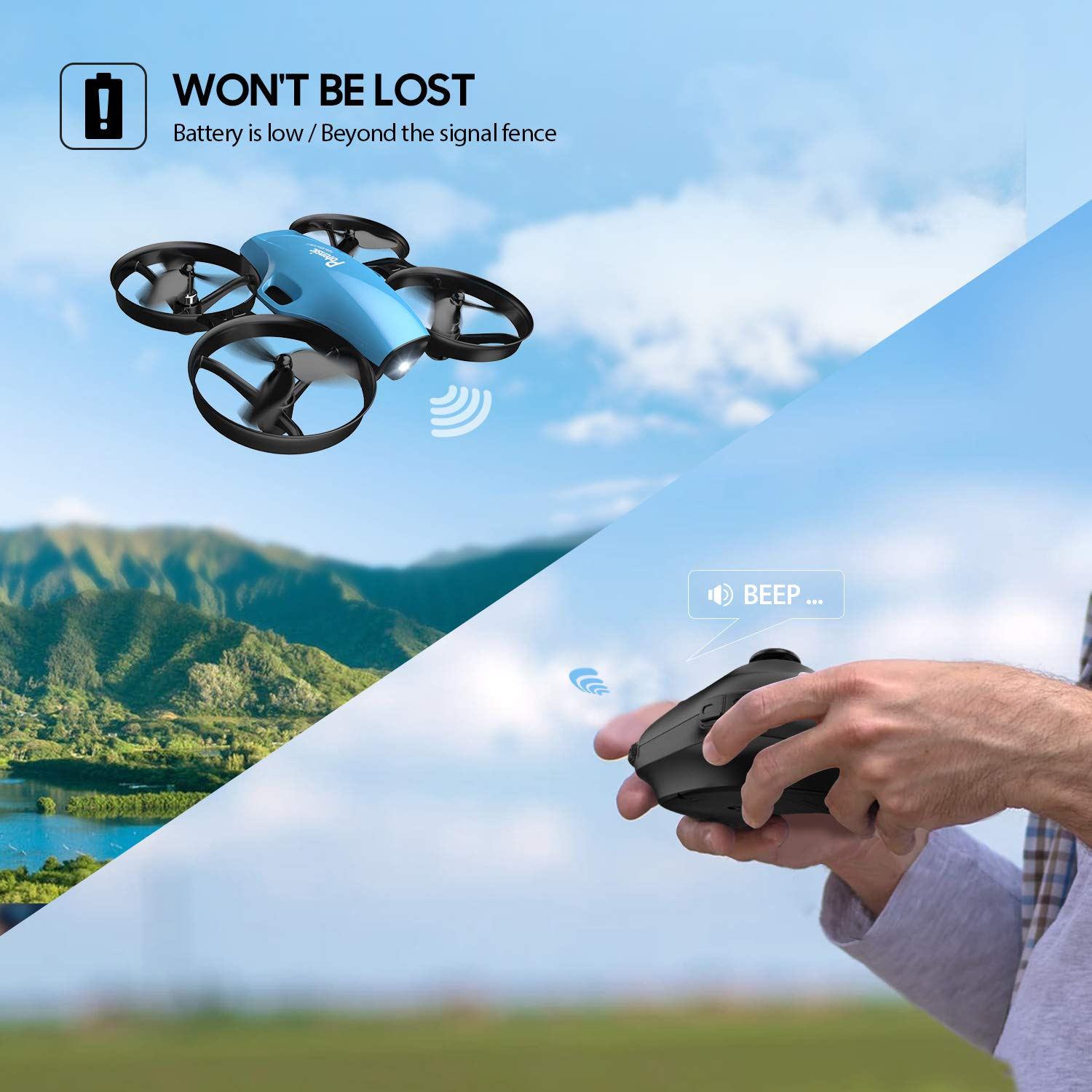 Mini Drone, RC Quadcopter, Potensic A30 One Key Take-Off/Land,Emergency Stopped, Altitude Hold,Auto Hovering,Drone for Kids (Blue) by Potensic (Image #7)
