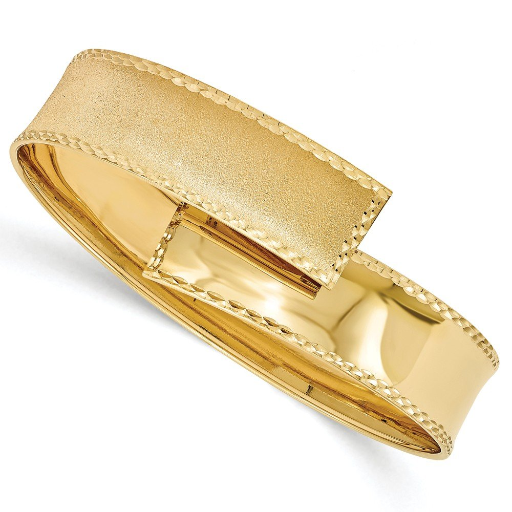 Top 10 Jewelry Gift Leslies 14k Polished, Satin and Diamond Cut Cuff Bangle