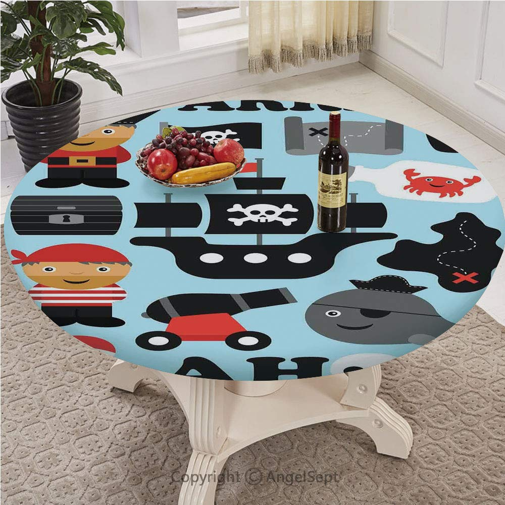 Patterned Fitted Table Cover with a Drawstring Polyester,Customized Round,The Ultimate Protect Table,Full-size,Kids,Ahoy Pirate Theme l Hat Flag Bottle Ship Toy Island Adventure Crab Skull Print Decor