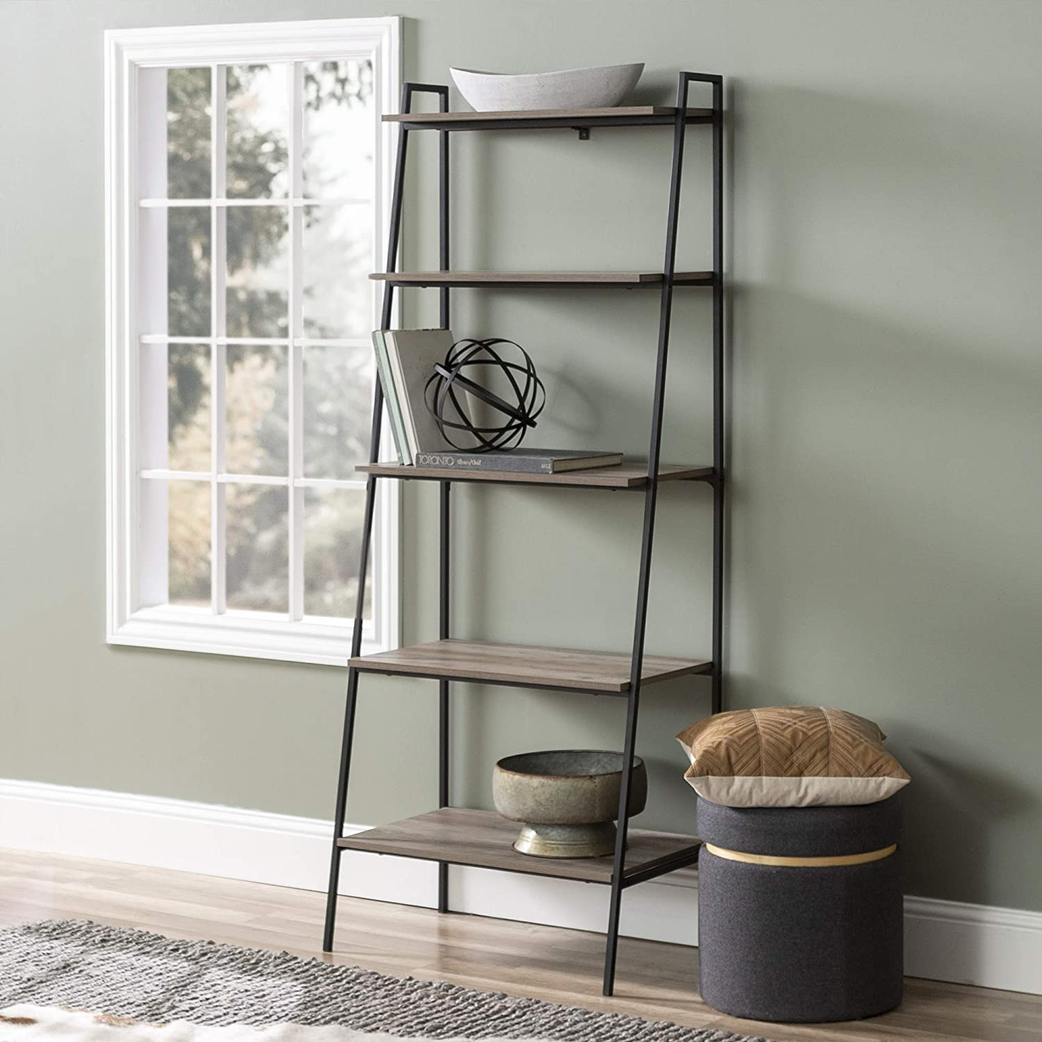 Amazon Com Walker Edison Industrial Metal And Wood Ladder Bookcase Tall Bookshelf Home Office Storage Cabinet 28 L X 18 W X 72 H Grey Wash Furniture Decor