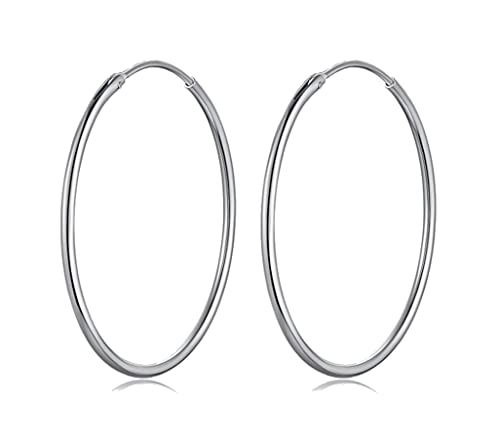 70 40 Gro/ß Creolen DTPsilver Ohrringe 925 Sterling Silber 60 80 mm Durchmesser verf/ügbare Gr/ö/ßen: 30 50 Dicke 1.2 mm 35 Damen