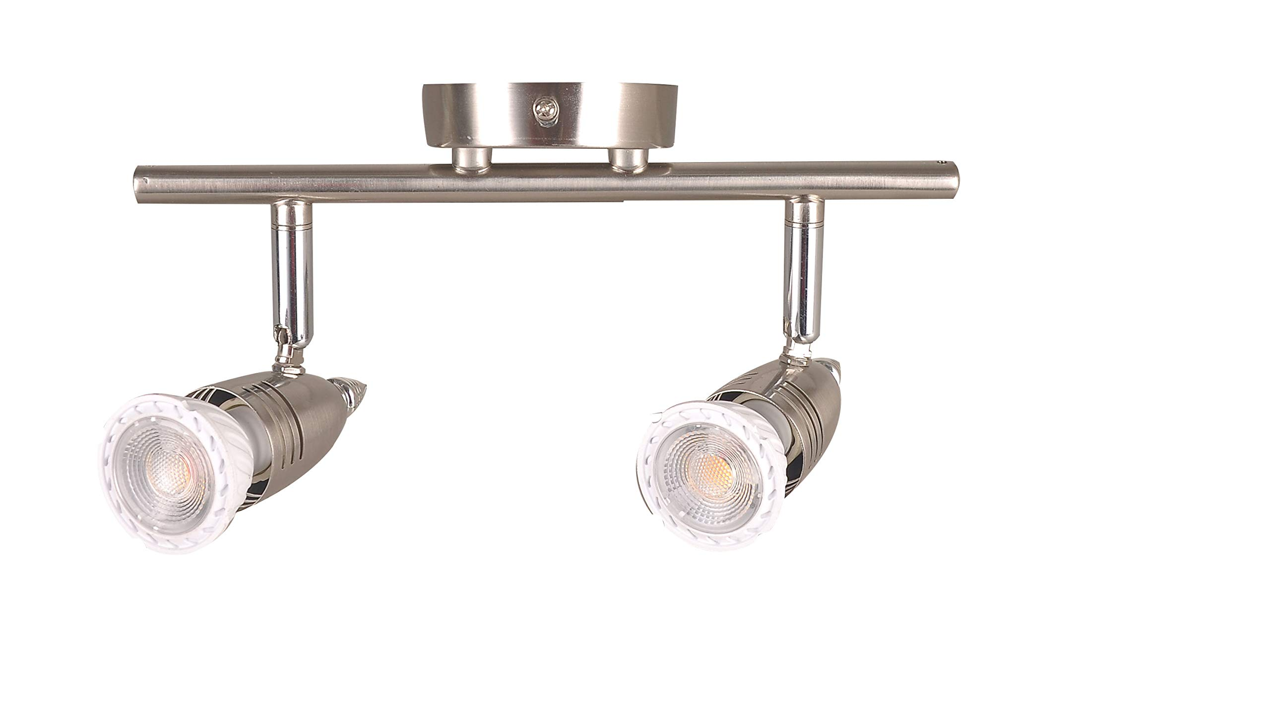 KIMYAN Two-Light Track Lighting Kit Plug in,Brushed Nickel,with On/Off Switch, with MR16GU10 LED Bulbs,Warm White,CRI90