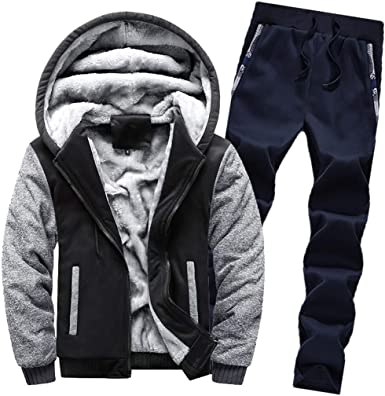 Men Winter Tracksuit Set Hooded Jacket Pants Fleece Hoodie Sweatshirt 2PCS Suits