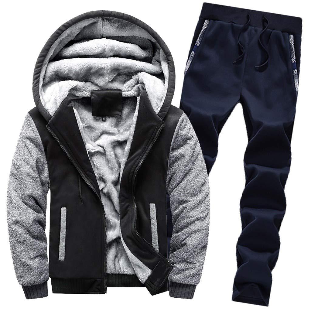 Men's Winter Thicken Fleece 2 Piece Hoodie Sweat Suit Full Zipper Tracksuit Set Coat + Pants Sport Set