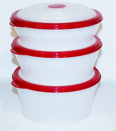Amazon Com Tupperware Super Stuffables Storage Bowl Set Of 3 In Red 4 Cup 6 Cup 8 Cup Kitchen Dining