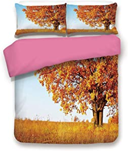 California King Size 3D Printed Bedding Set,Lonely Ancient Oak Tree Grass Bushes Field Serene Rural Scenery Decorative 3 Piece Bed Sets,1 Comforter Cover with 2 Pillow Shams,Orange Yellow Light Blue