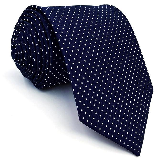 Shlax&Wing Hombre Clásico Traje De Negocios Seda Corbatas Para Azul Blanco Puntos Extra largo