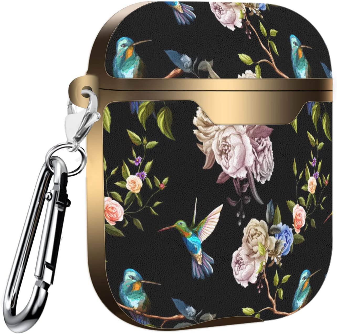 Hummingbird On Floral Background Slim Form Fitted Printing Pattern Cover Case with Carabiner Compatible with Airpods 1 and AirPods 2