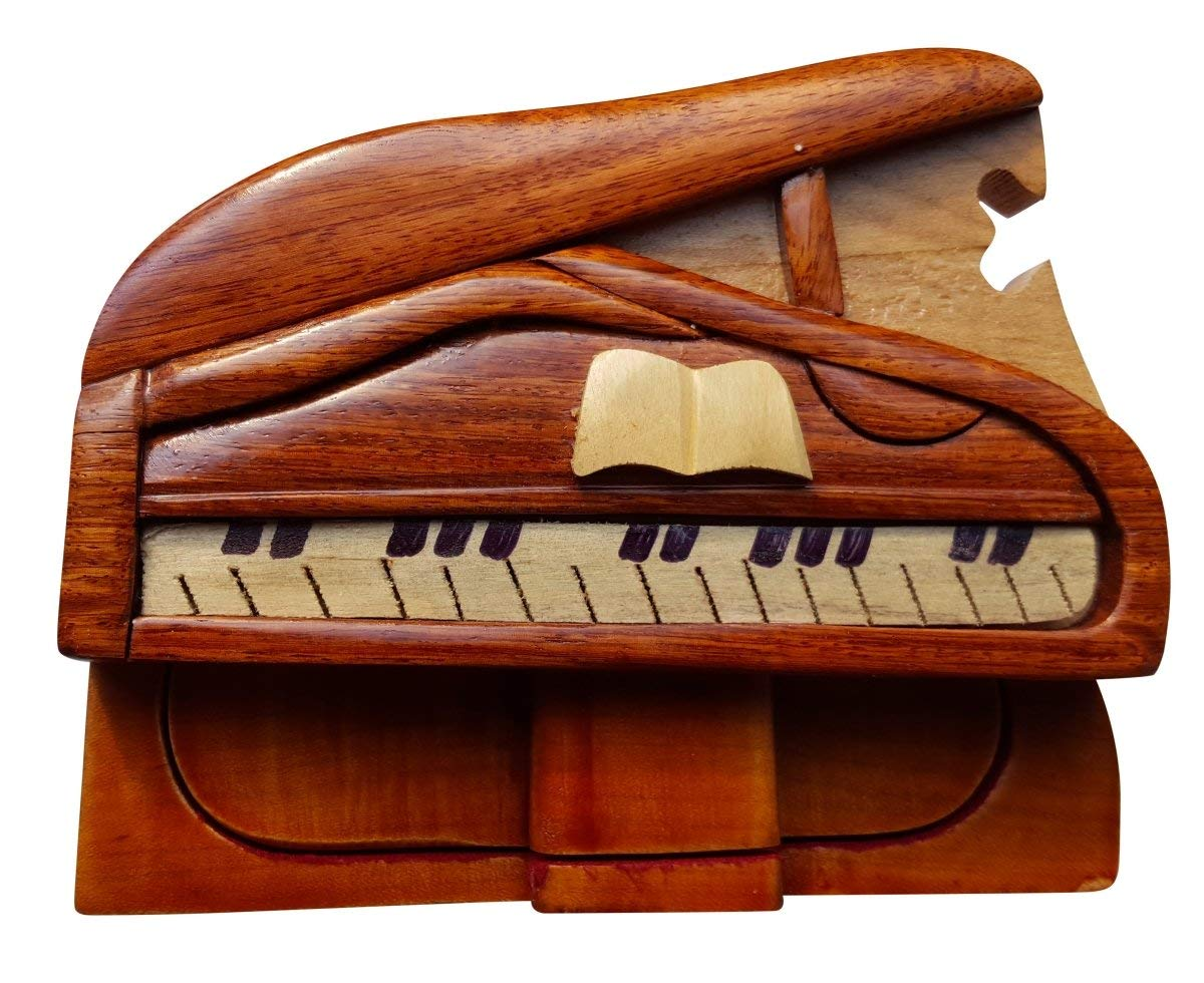 South Asia Trading Handmade Wooden Art TRICK SECRET Piano Puzzle Trinket Box (3026) by South Asia Trading