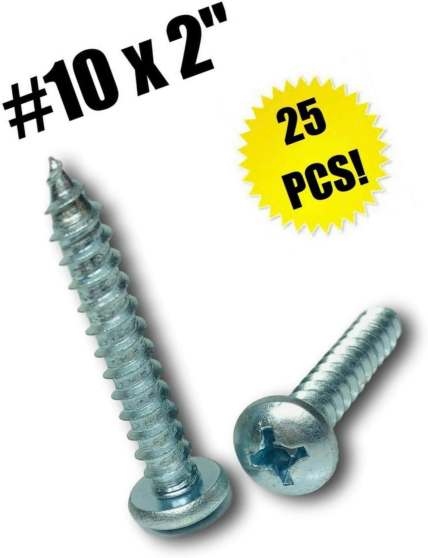 "#10 X 2"" Phillips Pan Head Sheet Metal Screw Zinc Plated (Qty 25) Grade Metric Hardware Fastener Kit"