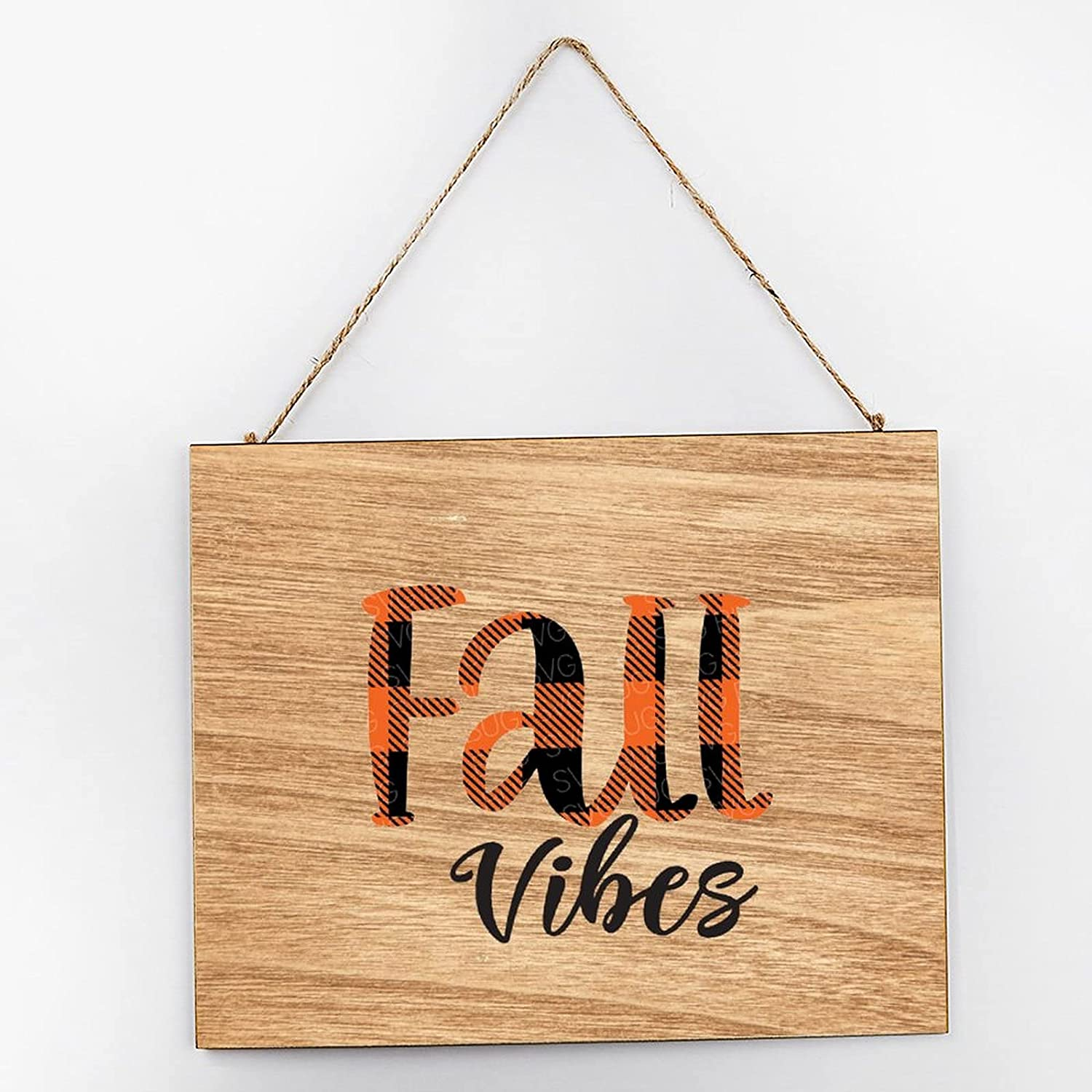 Fall Vibes File, Buffalo Plaid File, Fall File, Autumn File, Thanksgiving Rustic Wood Block Sign Wood Sign 10×12×0.2 inch: Home & Kitchen
