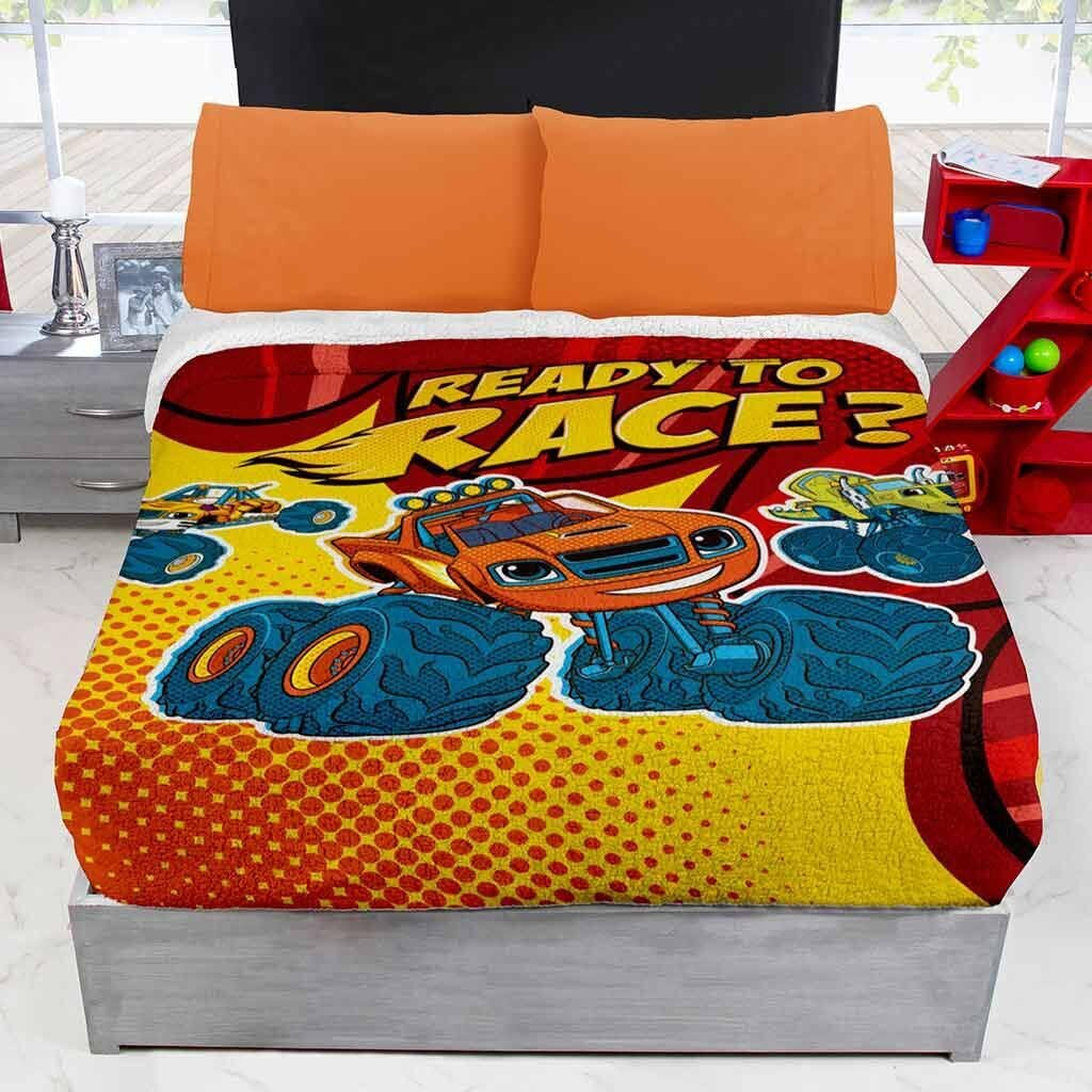 JORGE'S HOME FASHION INC NICKELODEON BLAZE TRUCK KIDS BOYS ORIGINAL LICENSE BLANKET WITH SHERPA VERY SOFTY THICK WARM AND SHEET SET 5 PCS FULL SIZE