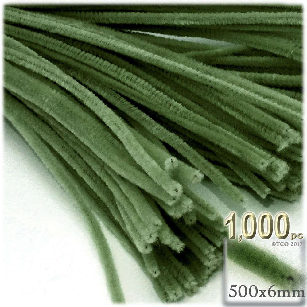 The Crafts Outlet Chenille Stems, Pipe Cleaner, 20-inch (50-cm), 1000-pc, Olive Green