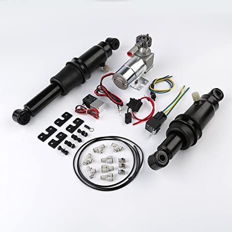 Amazon.com: XFMT Adjustable Rear Air Ride Suspension Kit Compatible with Harley Davidson Harley Touring Bagger Electra Street Road Glide Road King ...