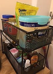 Amazon Com Decobros 2 Tier Mesh Sliding Cabinet Basket
