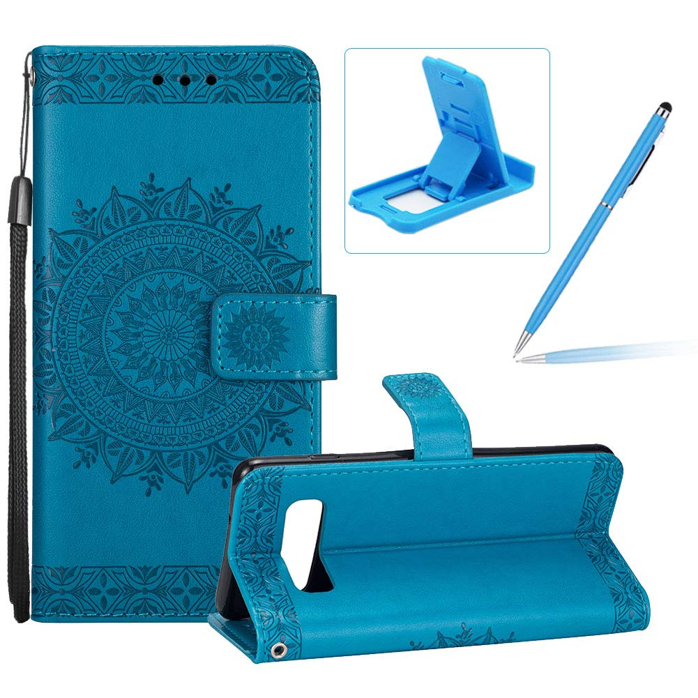 Strap Leather Case for Galaxy S10E,Flip Wallet Cover for Galaxy S10E,Herzzer Elegant Classic Solid Color Blue Mandala Flower Printed Magnetic Purse Folio Stand Cover with Soft TPU