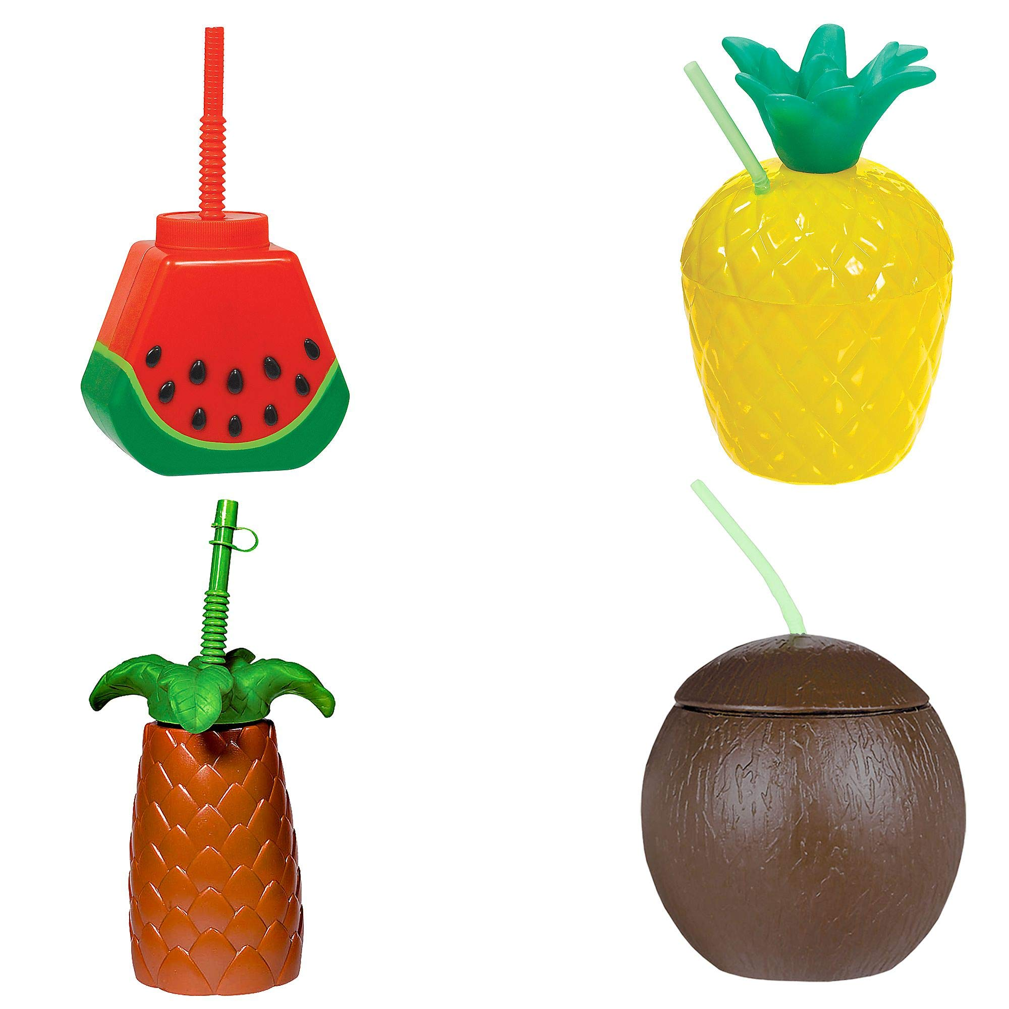 Party City Tropical Cups and Luau Beach Party Supplies, 16 Pieces, Includes Cups by Party City