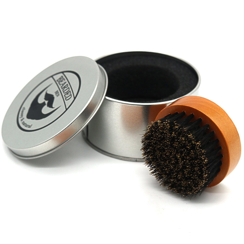 BEARDED BEN brosse à barbe avec des poils de sanglier et une boite de rangement de haute qualité pour un soin de la barbe professionnel ( brune, diamètre : 6.3 cm)   2 ans de garantie de satisfaction product image