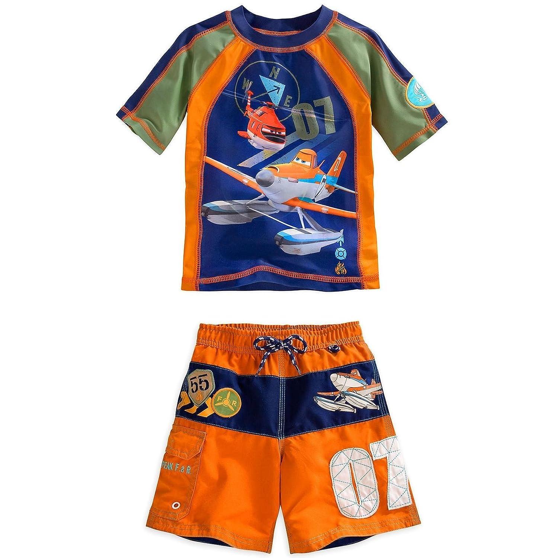 Disney Store Planes Dusty Crophopper Boy Rash Guard /& Swim Trunks Set Size 5//6