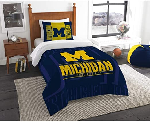 Michigan Wolverines Bed in a Bag With Team Colored Sheets